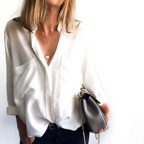 Camisa Blanca de Vestir Cuello Bajo