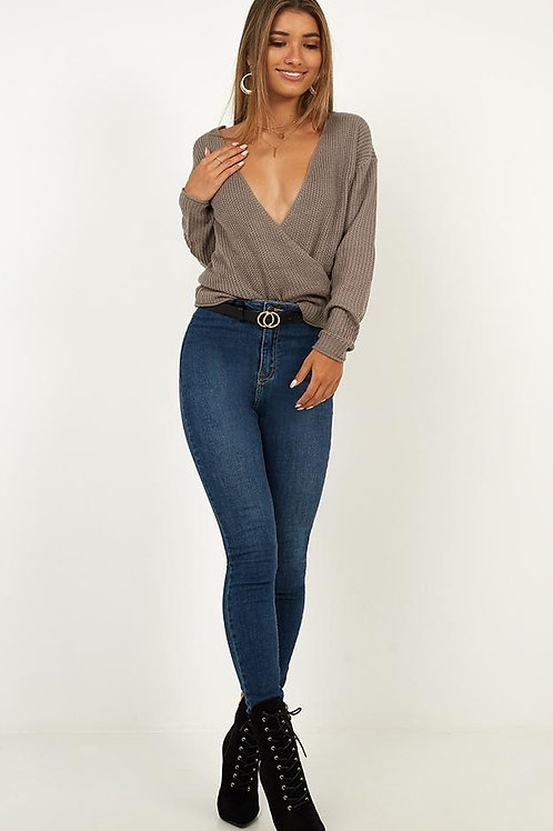 Pantalón Jeans Importado Sin Bolsillos Azul Focalizado