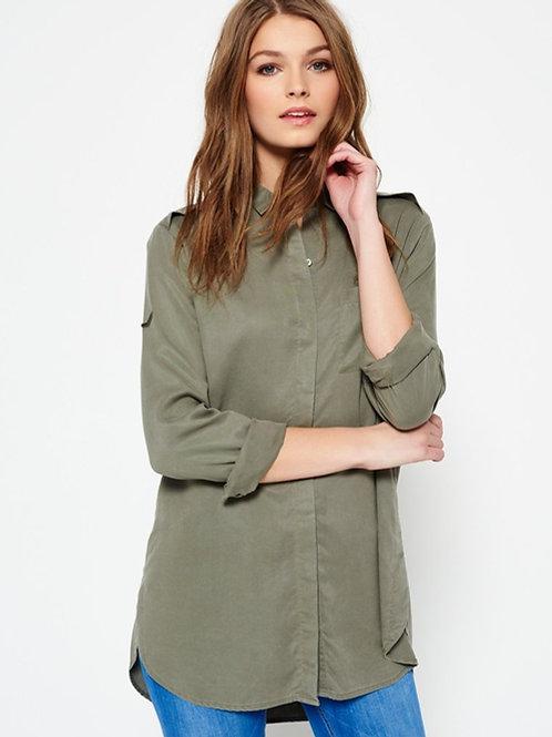 Camisa Larga De Vestir Verde Militar