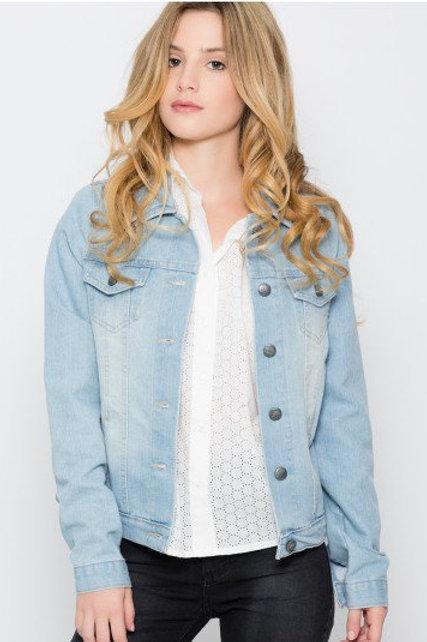 Campera de Jeans de Mujer Color Celeste