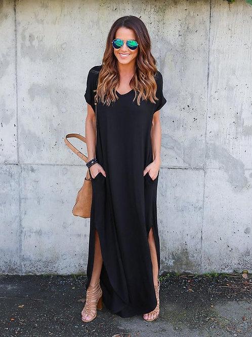 Vestido Largo Amplio Negro  Importado
