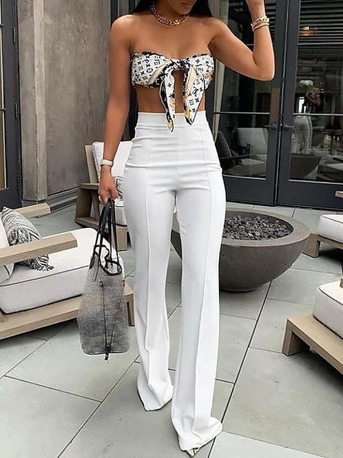 Pantalón Palazzo de Vestir Tiro Alto Blanco De Mujer