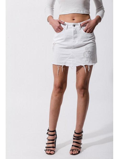 Pollera Desflecada Blanca de Jeans de Mujer