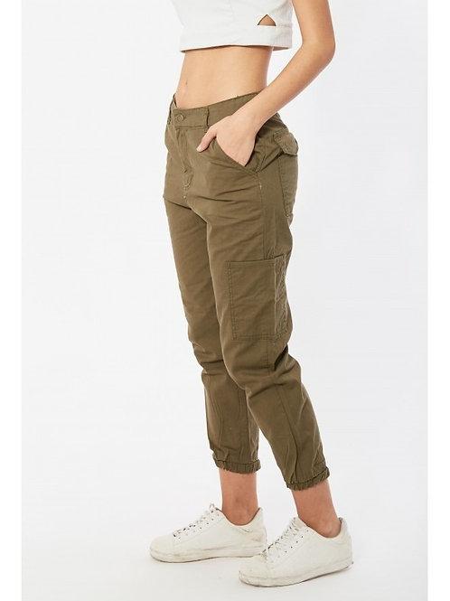 Pantalón Cargo Tiro Alto De Mujer Color Verde Militar