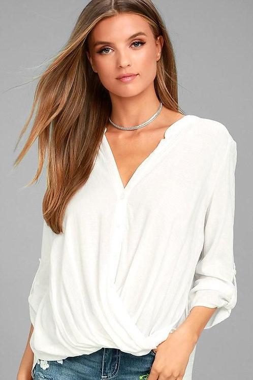 Camisa Cuello Mao Color Blanca de Mujer