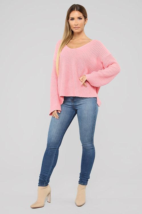 Buzo Sweater Rosa Ancho De Lana