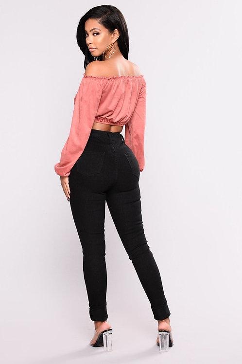 Pantalón Jeans Negro De Mujer Chupin Tiro Alto