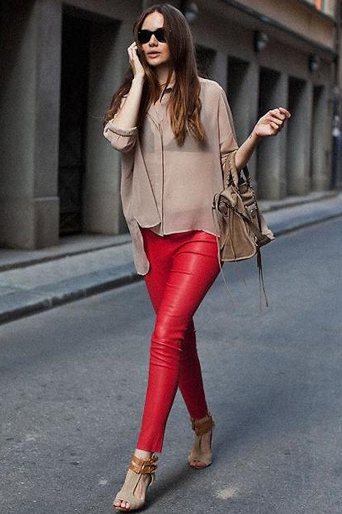 Pantalón Engomado De Cuero Rojo