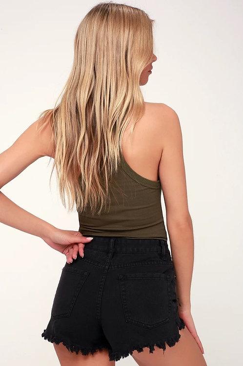 Short Jeans De Mujer  Super Elastizado Color Negro