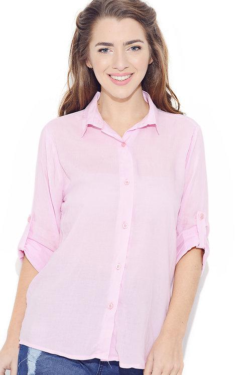 Camisa Clásica Color Rosa De Mujer