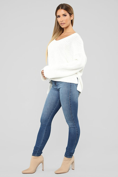 Buzo Sweater Blanco Ancho De Lana