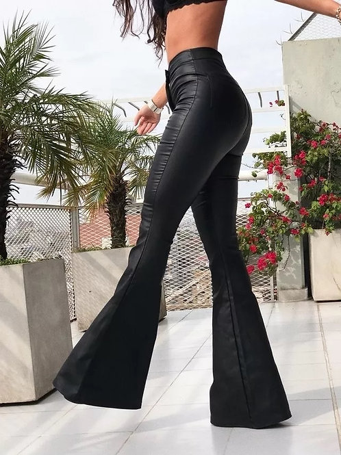 Pantalon Engomado De Cuero Oxford Tiro Alto Negro
