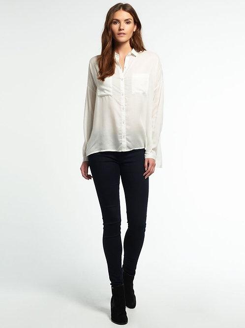 Camisa Basica Blanca Amplia De Vestir