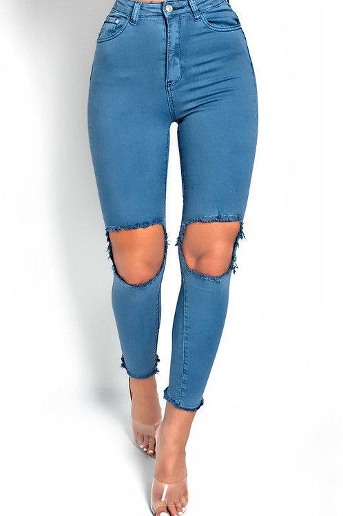 Pantalón Celeste Clásico Con Roturas Amplias Importado
