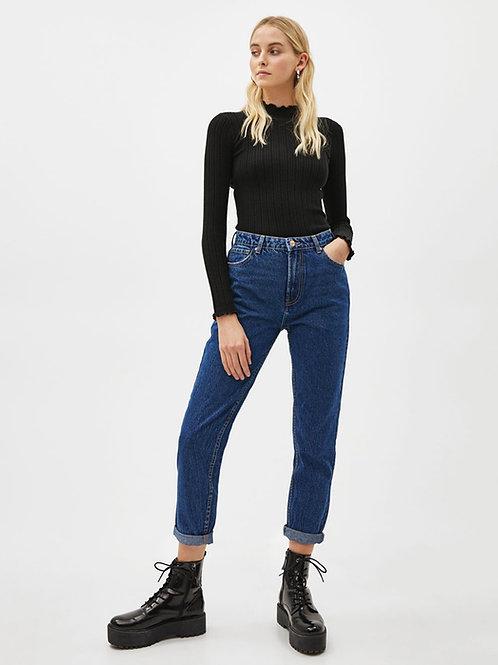 Pantalón Jeans Fit Mom Azul Oscuro