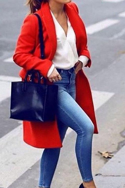 Tapado de Paño Color Rojo de Mujer