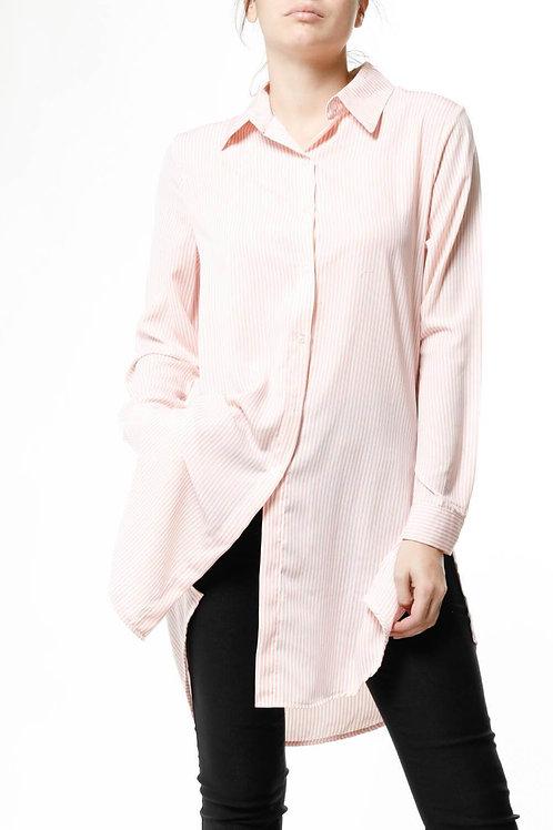 Camisa Amplia Rayas Rosa Con Blanco De Mujer