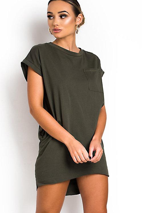 Vestido Modal Grueso Importado Con Bolsillos Verde Militar
