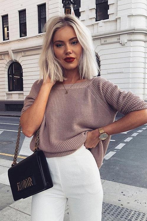 Sweater Amplio Beige Camel de Lana para Mujer