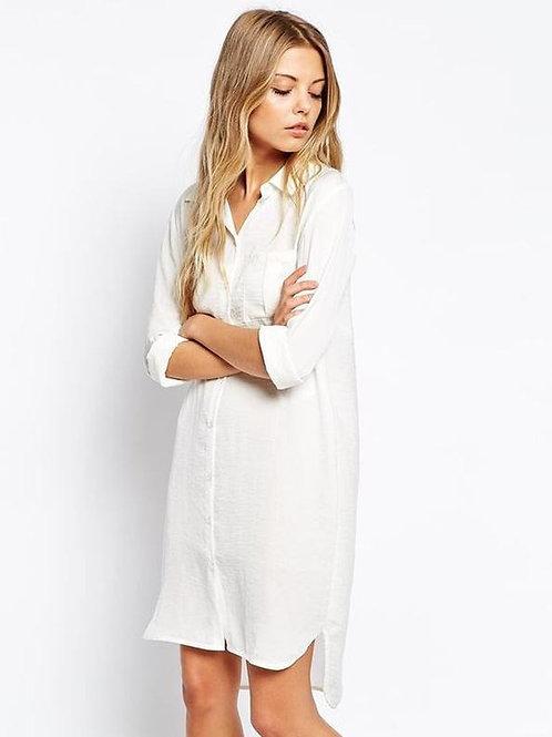 Camisa Larga De Mujer Color Blanca