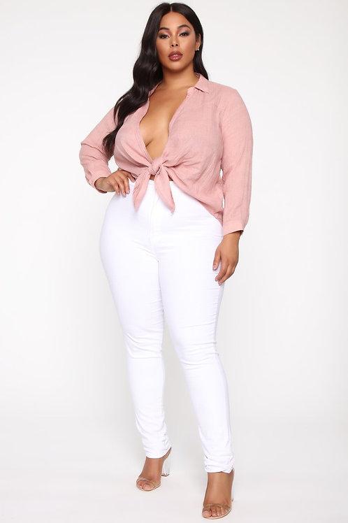 Pantalón Bengalina Blanco Talle Especial