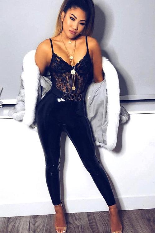 Pantalón Calza Charol Negro Importada de Mujer