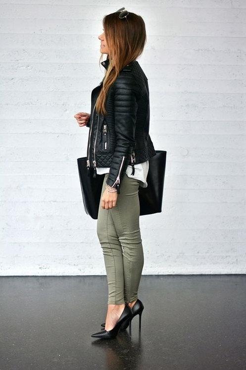 Pantalón Jeans de Mujer Chupín Tiro Alto Verde Militar