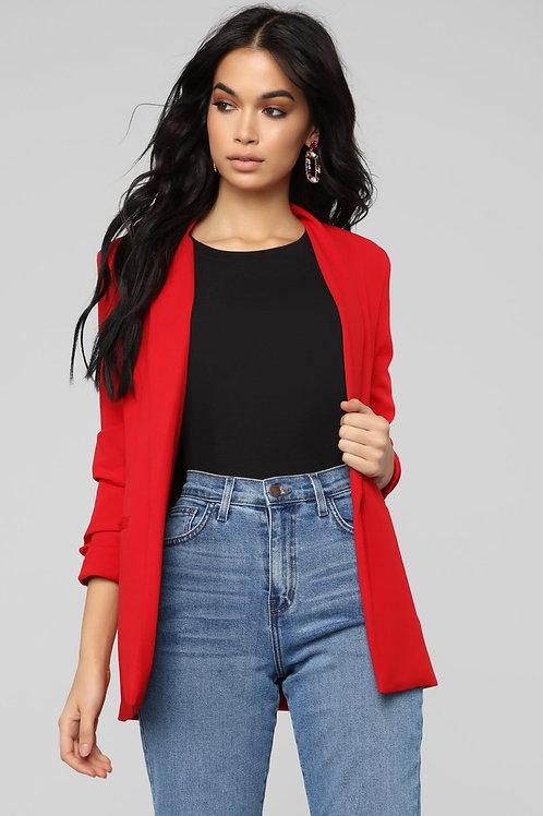 Blazer Largo De Vestir Importado Rojo