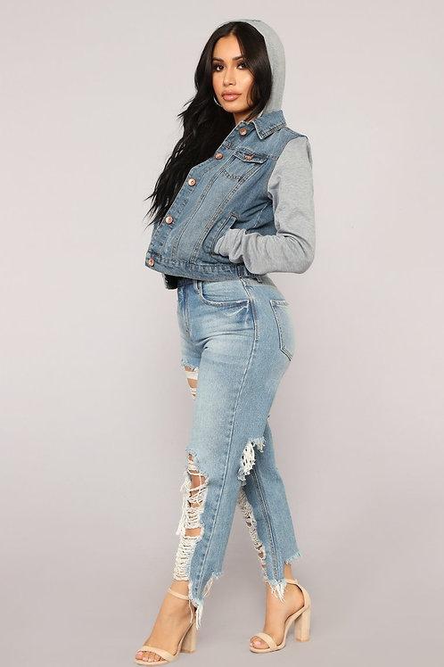 Campera De Jeans Con Mangas Grises De Mujer Importada