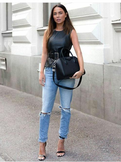 Pantalón Jeans Mom Rotura Rodilla