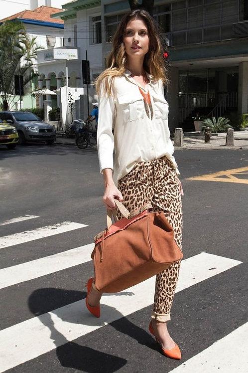 Pantalón Jeans Tiro Alto Animal Print de Mujer