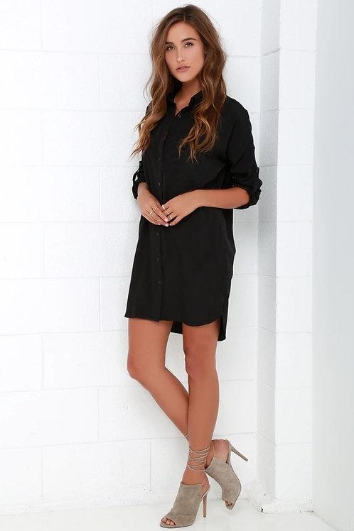 Camisa Casual Seda Semi Larga Color Negra