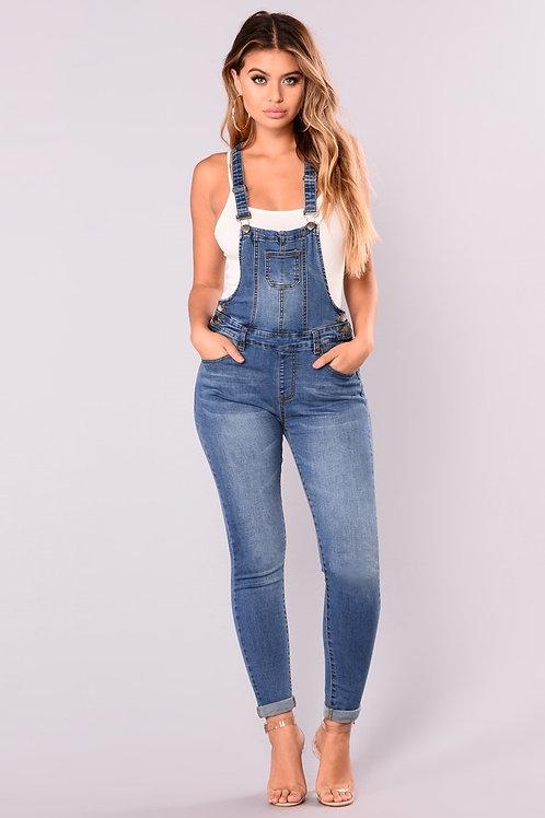 Jardinero Pantalón De Jeans Elastizado Color Azul De Mujer