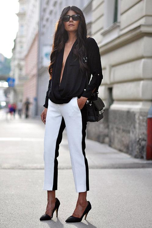 Babucha Blanca De Vestir Para Mujer Con Linea Negra