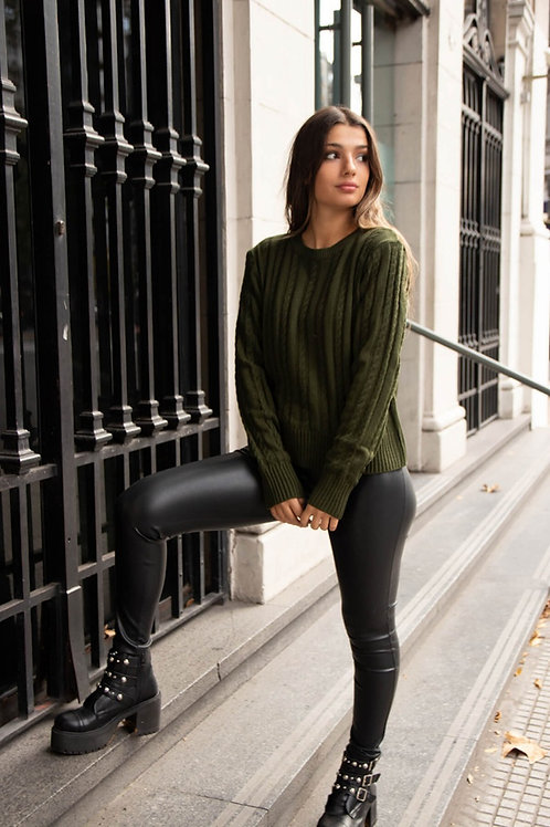Sweater de Lana De Mujer Tejido Verde Militar