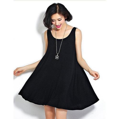 Vestido Ancho De Modal Negro De Mujer