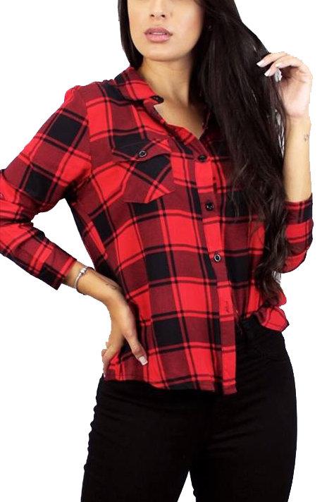 Camisa Leñador de Mujer Color Rojo