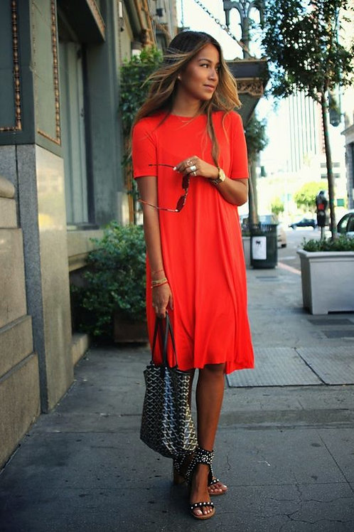 Vestido Ancho Color Naranja