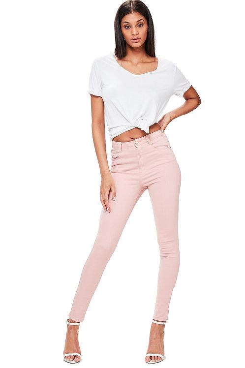 Pantalón Jeans Elastizado Tiro Alto Rosa Color Nude
