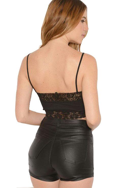 Short Engomado Tiro Alto de Cuero Negro