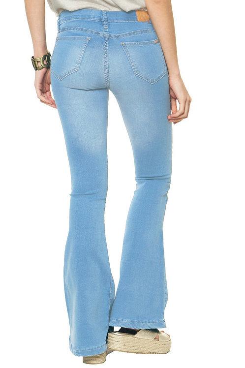 Pantalón Jeans de Mujer Oxford Tiro Alto Celeste
