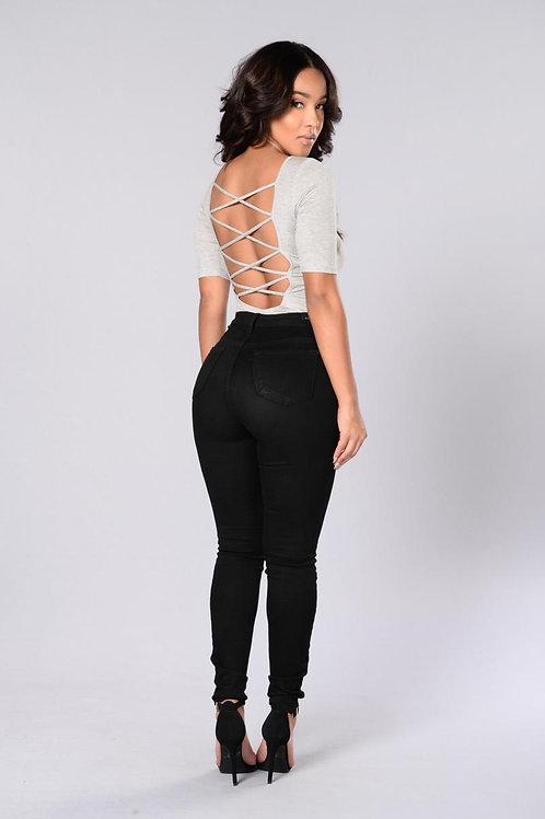 Pantalón Jeans de Mujer Chupín Tiro Alto Color Negro