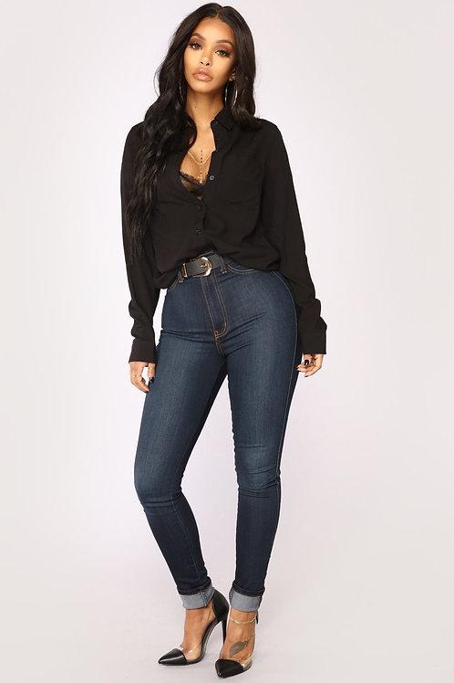 Camisa Basica Color Negra De Mujer