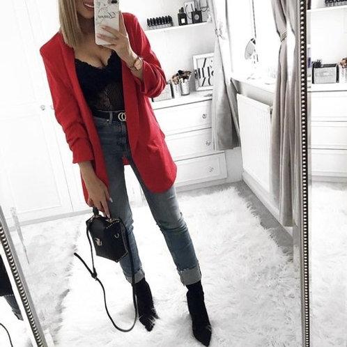 Blazer Saquito Largo de Vestir Color Rojo
