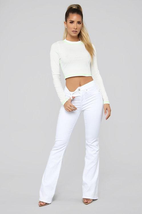 Pantalón Jeans Tiro Alto Oxford Blanco De Mujer