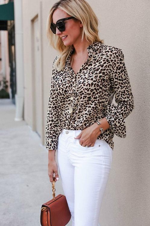 Camisa Animal Print Beige Crema