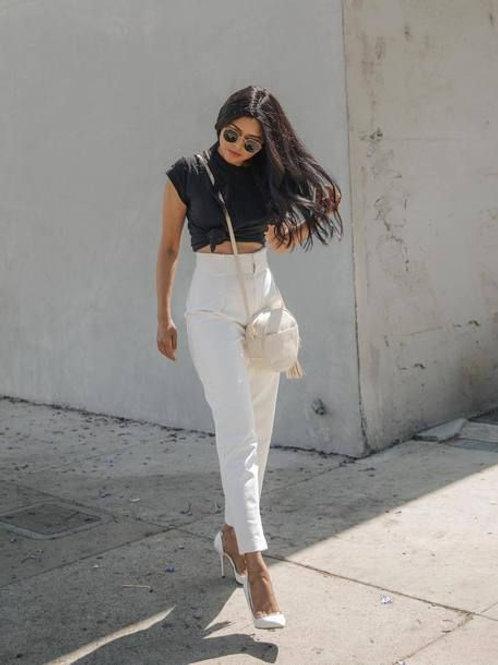 Pantalon de Vestir Blanco Satin de Mujer