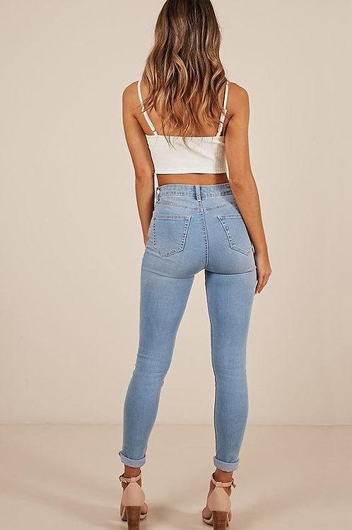 Pantalón Jeans Tiro Alto Celeste Claro Chupín