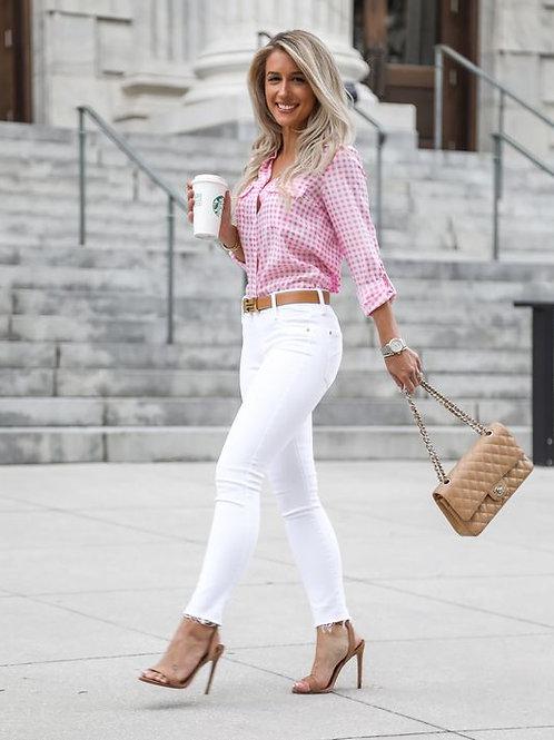 Pantalón Jeans Blanco de Mujer Chupín Tiro Alto Desflecado