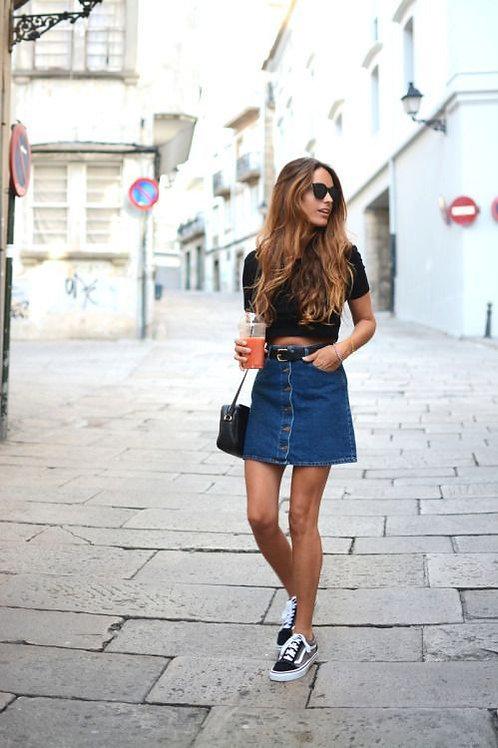 Pollera con Botones Adelante Azul Jeans
